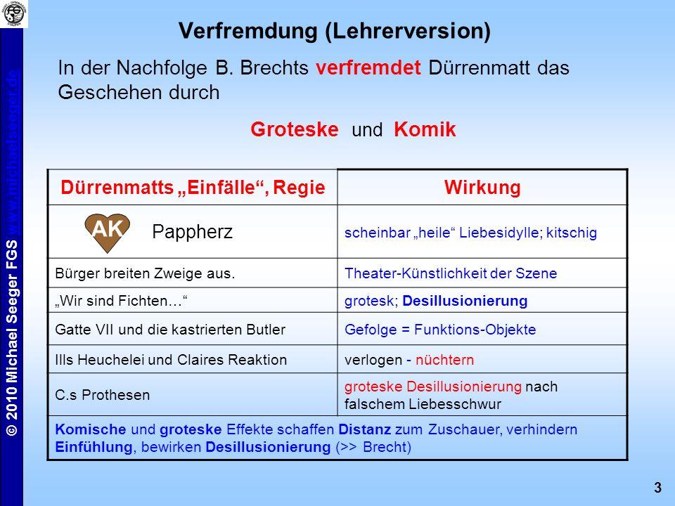 3 © 2010 Michael Seeger FGS www.michaelseeger.dewww.michaelseeger.de In der Nachfolge B. Brechts verfremdet Dürrenmatt das Geschehen durch Groteske un