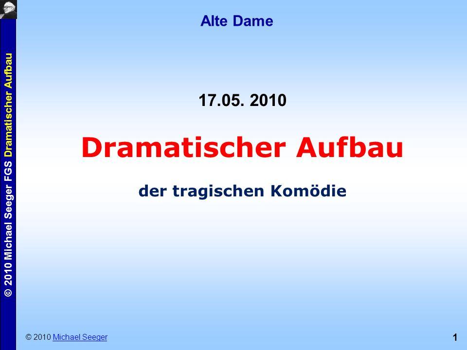 1 © 2010 Michael Seeger FGS Dramatischer Aufbau Alte Dame © 2010 Michael SeegerMichael Seeger 17.05. 2010 Dramatischer Aufbau der tragischen Komödie