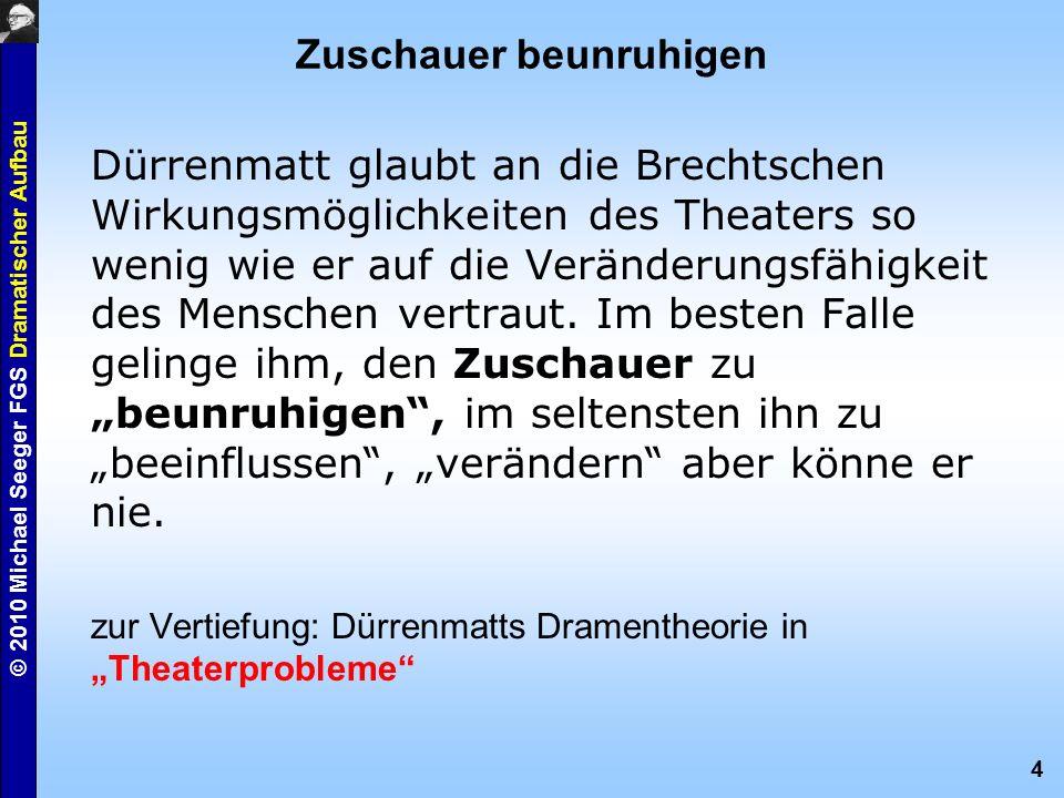 4 © 2010 Michael Seeger FGS Dramatischer Aufbau Zuschauer beunruhigen Dürrenmatt glaubt an die Brechtschen Wirkungsmöglichkeiten des Theaters so wenig