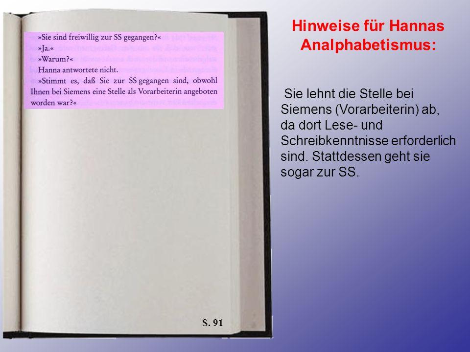 S. 91 Hinweise für Hannas Analphabetismus: Sie lehnt die Stelle bei Siemens (Vorarbeiterin) ab, da dort Lese- und Schreibkenntnisse erforderlich sind.