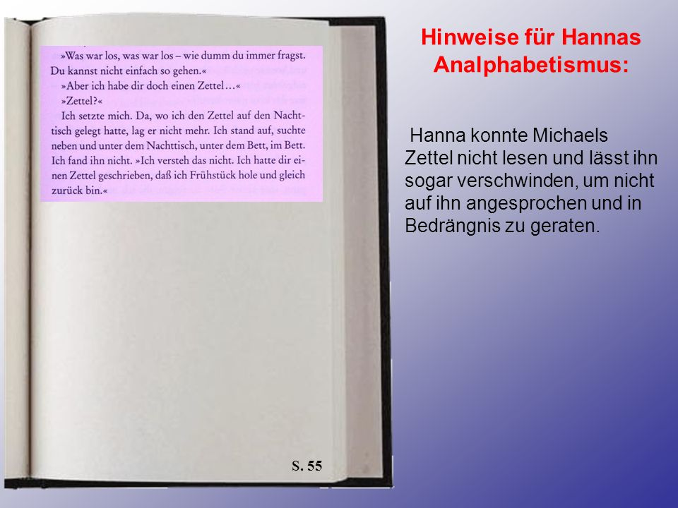S. 55 Hinweise für Hannas Analphabetismus: Hanna konnte Michaels Zettel nicht lesen und lässt ihn sogar verschwinden, um nicht auf ihn angesprochen un