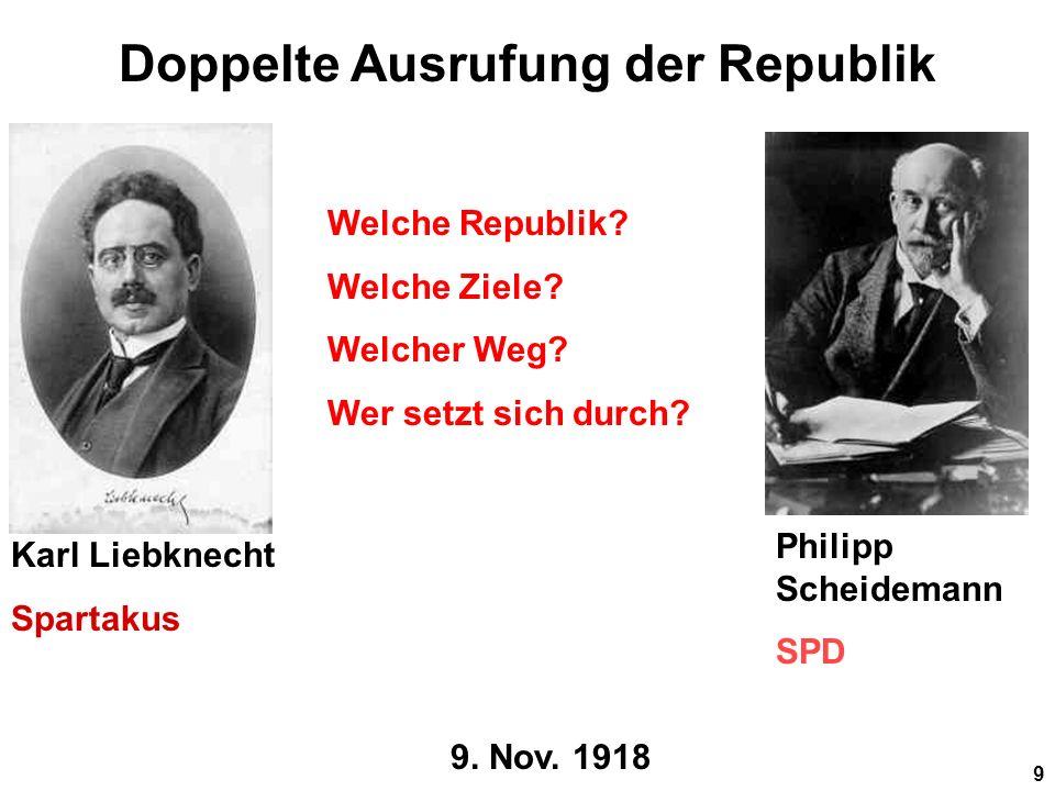 9 9.Nov. 1918 Doppelte Ausrufung der Republik Welche Republik.