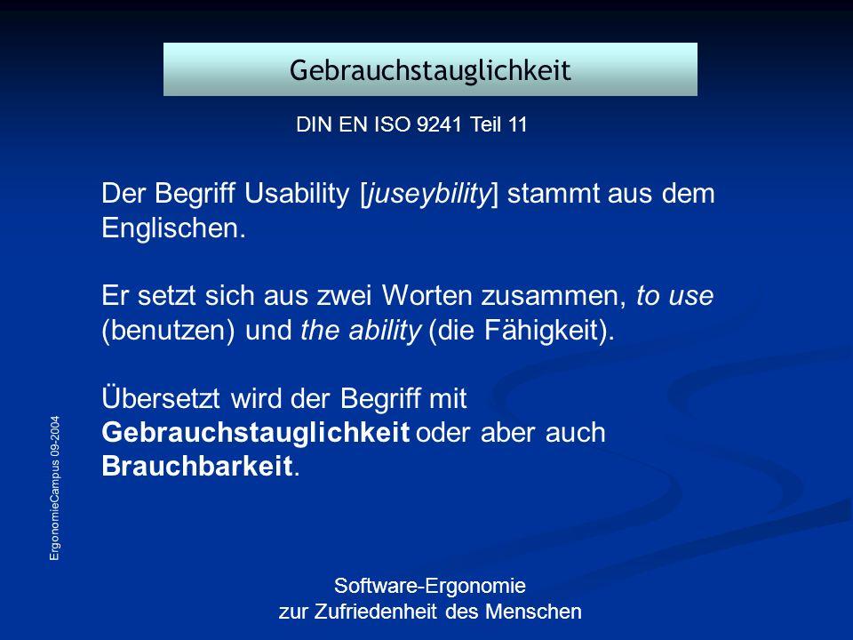 ErgonomieCampus 09-2004 Software-Ergonomie zur Zufriedenheit des Menschen Der Begriff Usability [juseybility] stammt aus dem Englischen. Er setzt sich