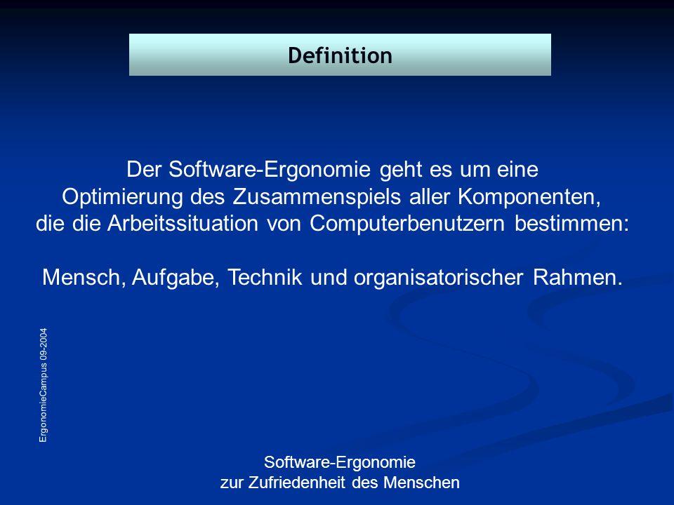 ErgonomieCampus 09-2004 Software-Ergonomie zur Zufriedenheit des Menschen Der Software-Ergonomie geht es um eine Optimierung des Zusammenspiels aller