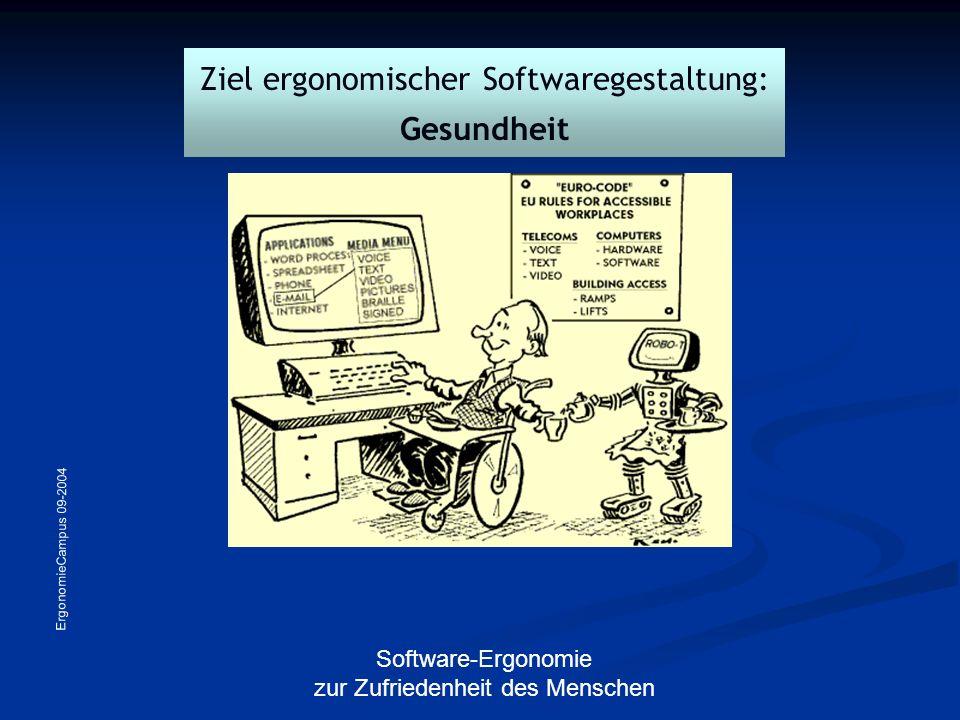 ErgonomieCampus 09-2004 Software-Ergonomie zur Zufriedenheit des Menschen Software-Ergonomie im Arbeitsschutz-Regelwerk Grundgesetz Arbeitsschutzgesetz Bildschirmarbeitsverordnung BGI 650DIN EN ISO 9241 Teile 10 - 17 DIN EN ISO 10 075 Teile 1 und 2