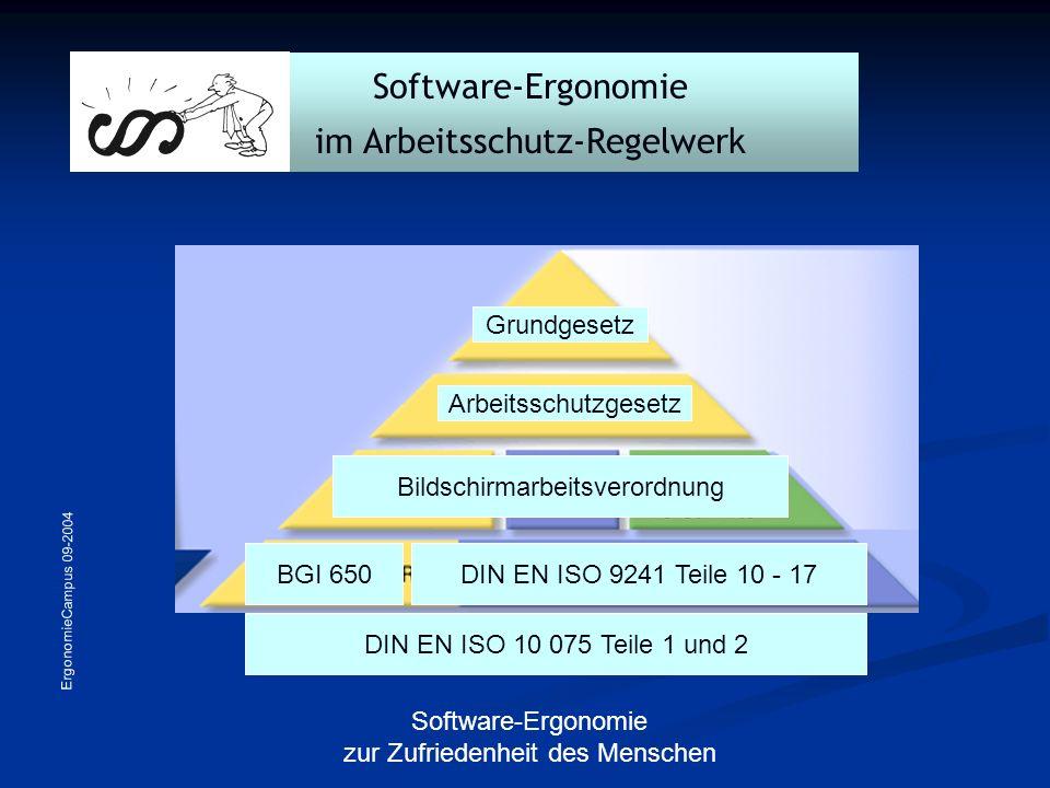 ErgonomieCampus 09-2004 Software-Ergonomie zur Zufriedenheit des Menschen Software-Ergonomie im Arbeitsschutz-Regelwerk Grundgesetz Arbeitsschutzgeset