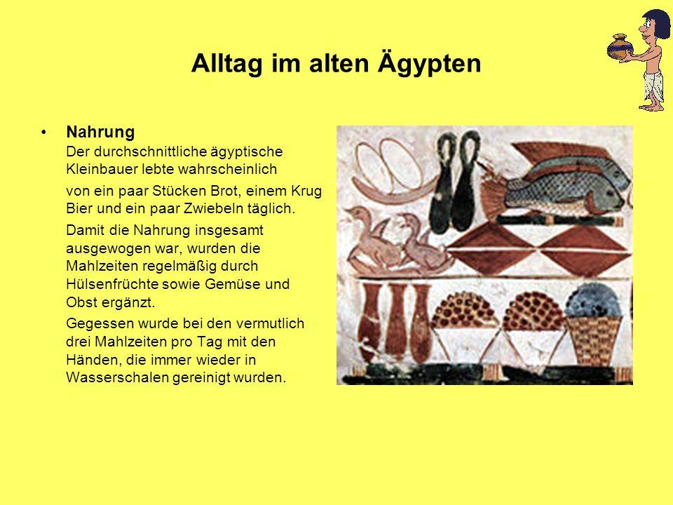 Alltag im alten Ägypten Nahrung Der durchschnittliche ägyptische Kleinbauer lebte wahrscheinlich von ein paar Stücken Brot, einem Krug Bier und ein pa