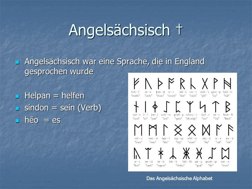 Angelsächsisch Angelsächsisch war eine Sprache, die in England gesprochen wurde Angelsächsisch war eine Sprache, die in England gesprochen wurde Helpan = helfen Helpan = helfen sindon = sein (Verb) sindon = sein (Verb) hēo = es hēo = es Das Angelsächsische Alphabet