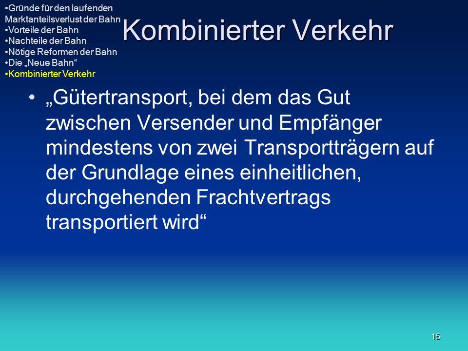 15 Kombinierter Verkehr Gütertransport, bei dem das Gut zwischen Versender und Empfänger mindestens von zwei Transportträgern auf der Grundlage eines