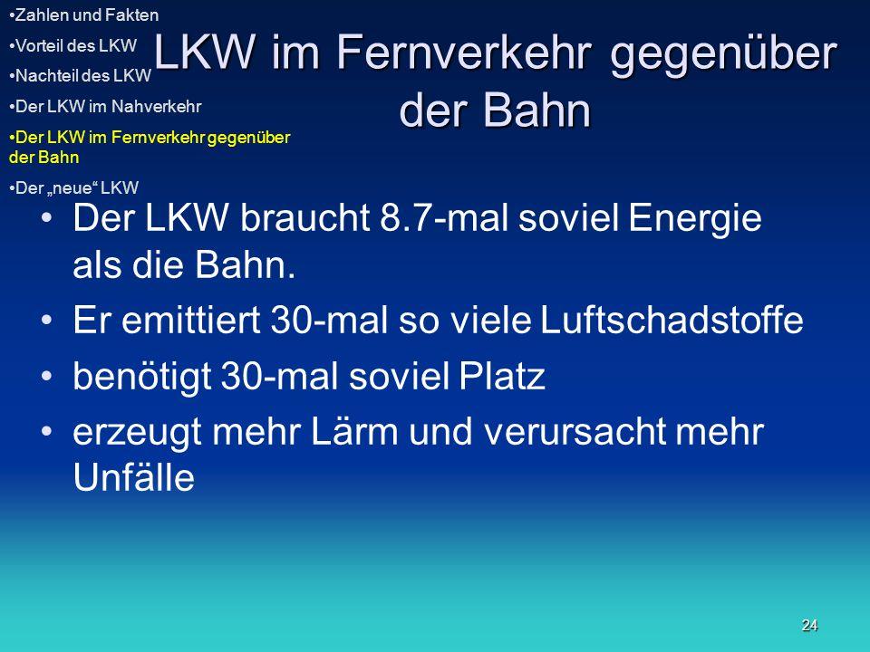 24 LKW im Fernverkehr gegenüber der Bahn Der LKW braucht 8.7-mal soviel Energie als die Bahn. Er emittiert 30-mal so viele Luftschadstoffe benötigt 30
