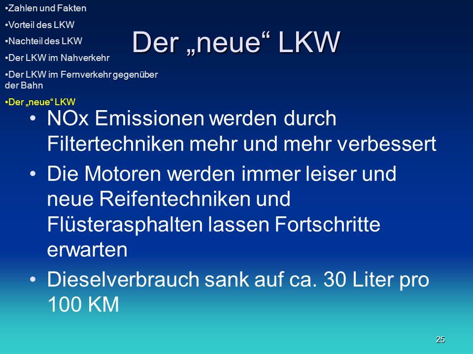 25 Der neue LKW NOx Emissionen werden durch Filtertechniken mehr und mehr verbessert Die Motoren werden immer leiser und neue Reifentechniken und Flüs