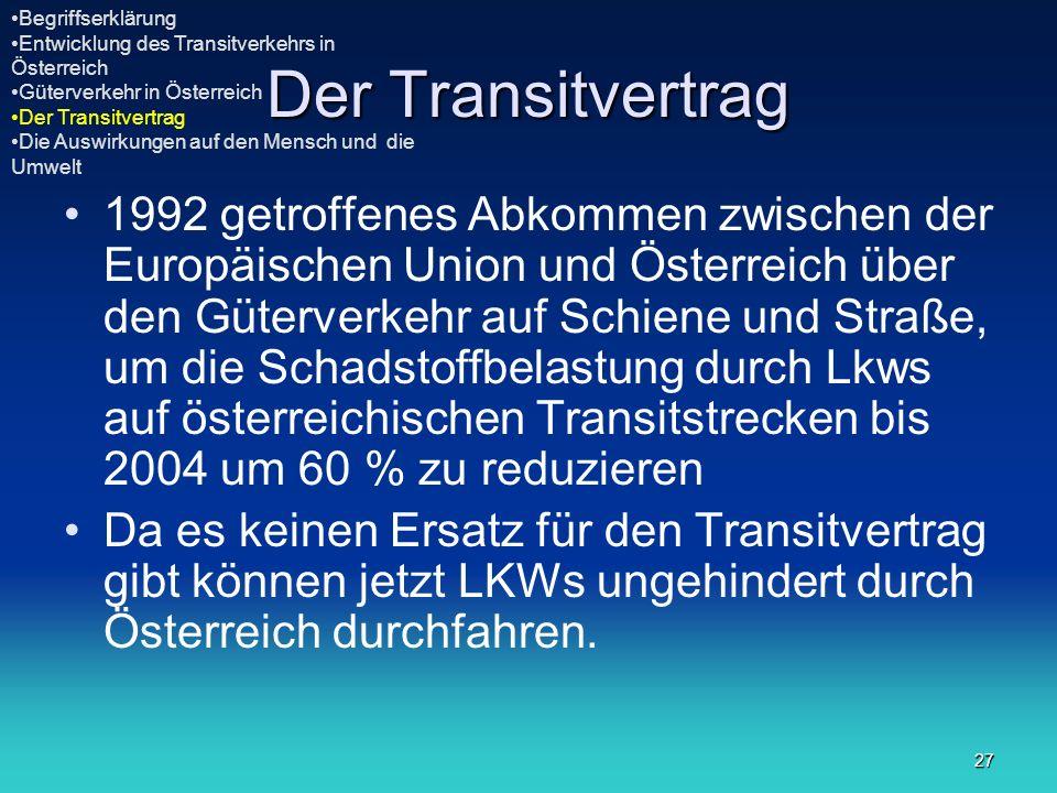27 Der Transitvertrag 1992 getroffenes Abkommen zwischen der Europäischen Union und Österreich über den Güterverkehr auf Schiene und Straße, um die Sc