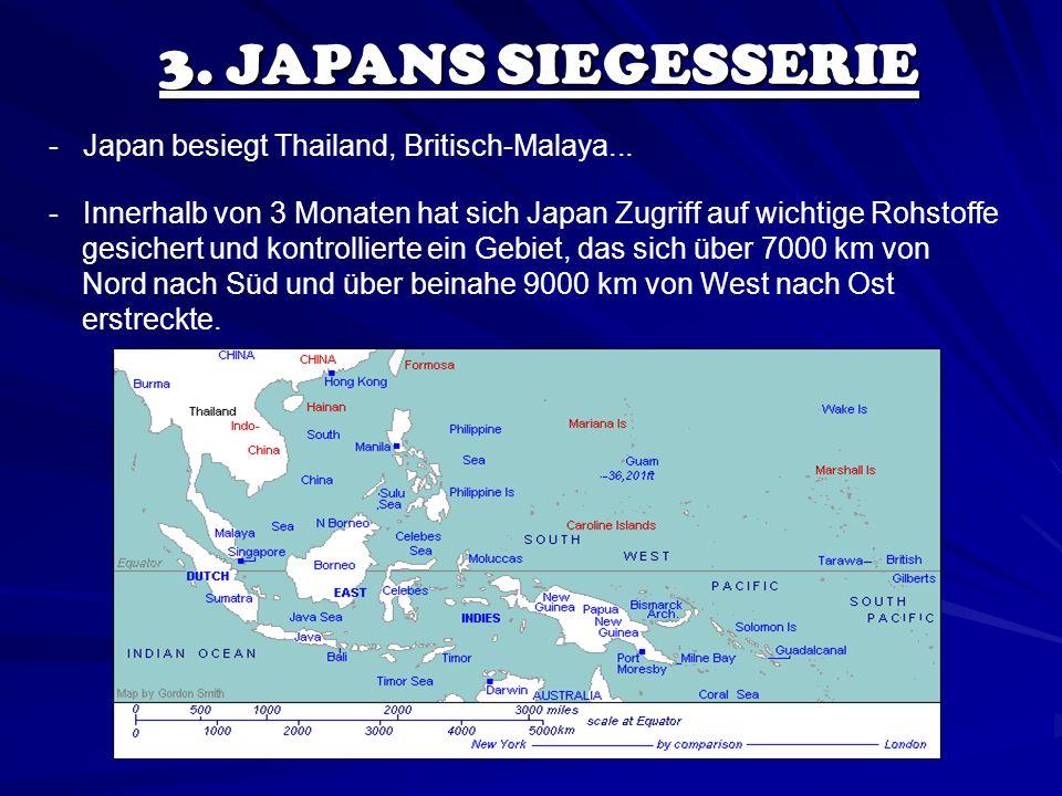 3. JAPANS SIEGESSERIE - Japan besiegt Thailand, Britisch-Malaya... - Innerhalb von 3 Monaten hat sich Japan Zugriff auf wichtige Rohstoffe gesichert u