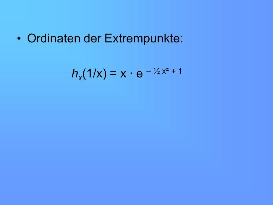Die Extrempunkte der Funktion h x (a) besitzen alle die Koordinaten E x (1/x ; x · e – ½ x² +1 ) Für x > 0 Vorzeichenwechsel von -1 nach +1 Minima E 0,2 (5 ; 0,53) E 0,5 (2 ; 1,2) E 1 (1 ; 1,65)