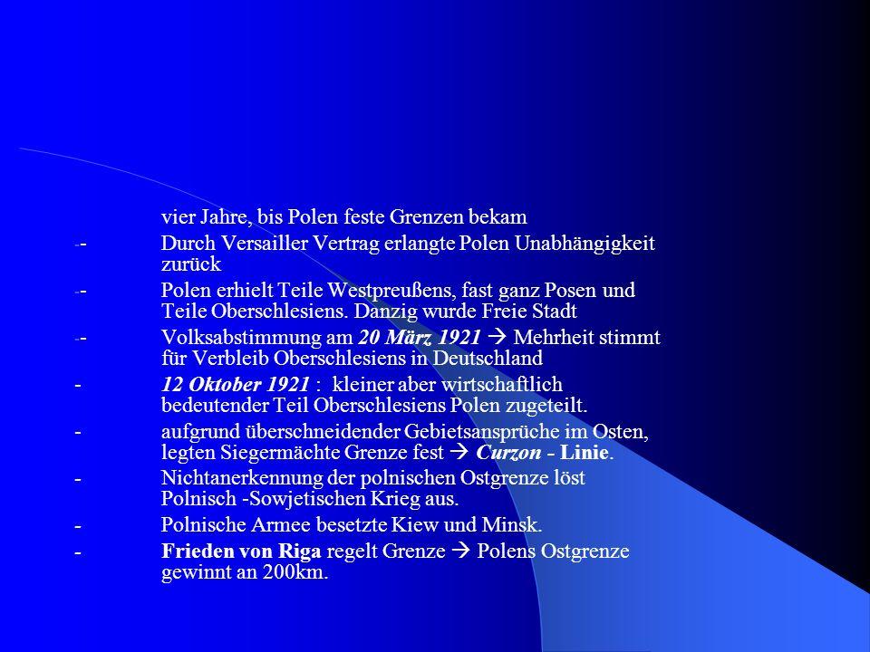 2.2 Innere und äußere Probleme - Ostgebiete Notstandsgebiete - Bevölkerungsabnahme um 35% - Staat vor großen Schwierigkeiten - Frieden von Riga 1923 bedeutete Teilung der litauischen, weißrussischen und ukrainischen Siedlungsgebiete - diese Staaten versuchten ihre Minderheiten gegen Polen aufzuhetzen - nationale Sicherheit wurde geprägt - stark ausgebauter Sicherheitssektor aber schwacher Verwaltungsapparat - die früheren russischen, preußischen und österreichischen Gebieten mussten vereinheitlicht werden - starke Bevölkerungszunahme erschwerte die vorgenommenen Herausforderungen