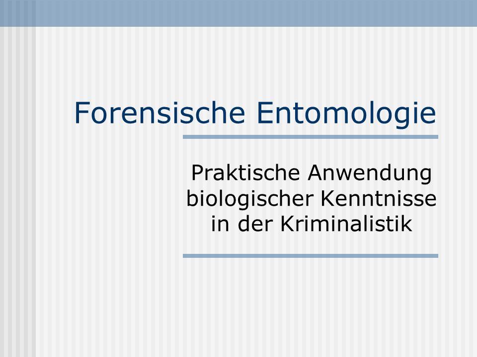 Forensische Entomologie Praktische Anwendung biologischer Kenntnisse in der Kriminalistik