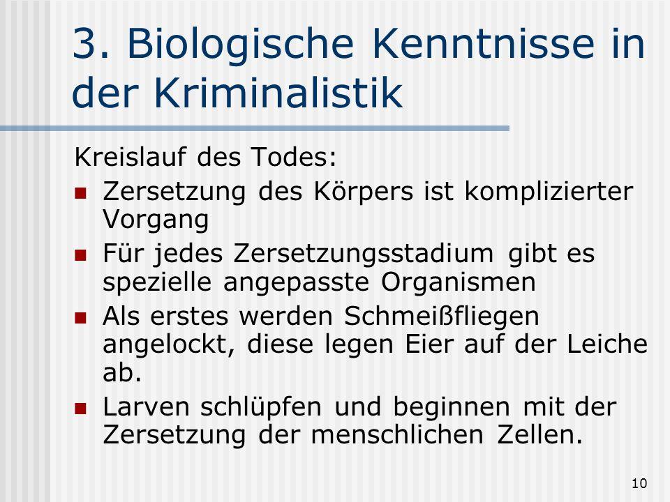 10 3. Biologische Kenntnisse in der Kriminalistik Kreislauf des Todes: Zersetzung des Körpers ist komplizierter Vorgang Für jedes Zersetzungsstadium g