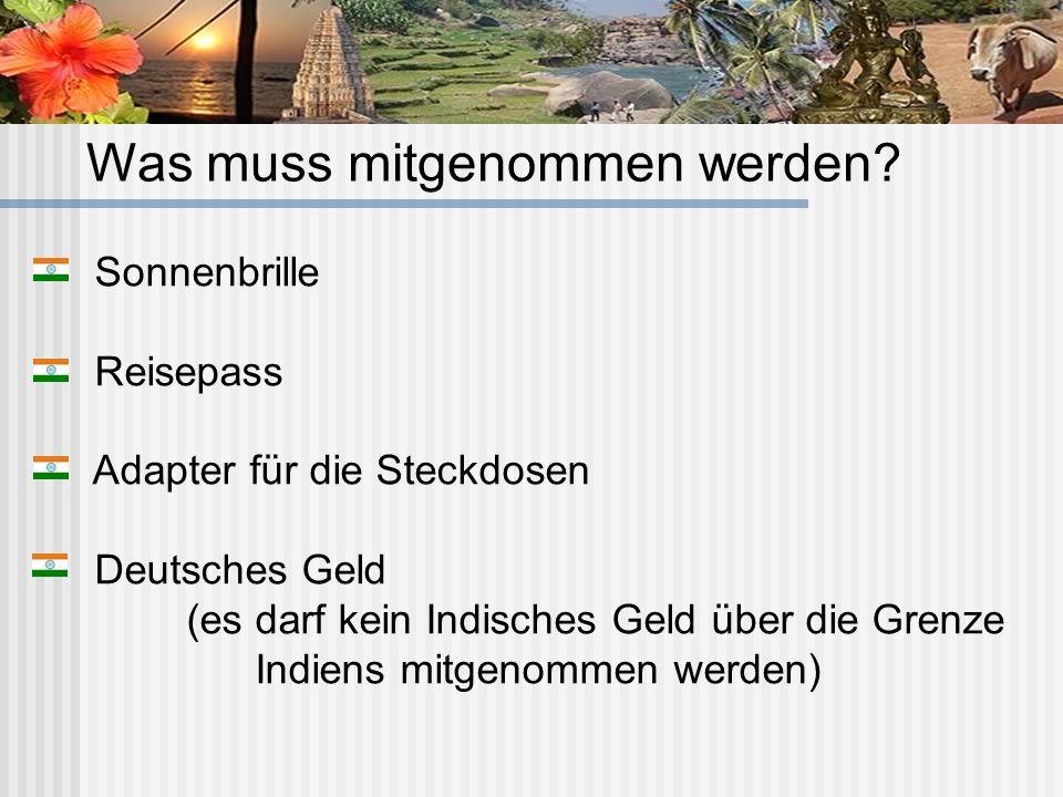 Sonnenbrille Reisepass Adapter für die Steckdosen Deutsches Geld (es darf kein Indisches Geld über die Grenze Indiens mitgenommen werden) Was muss mit