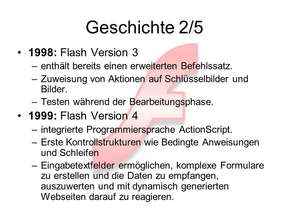 Geschichte 2/5 1998: Flash Version 3 –enthält bereits einen erweiterten Befehlssatz.