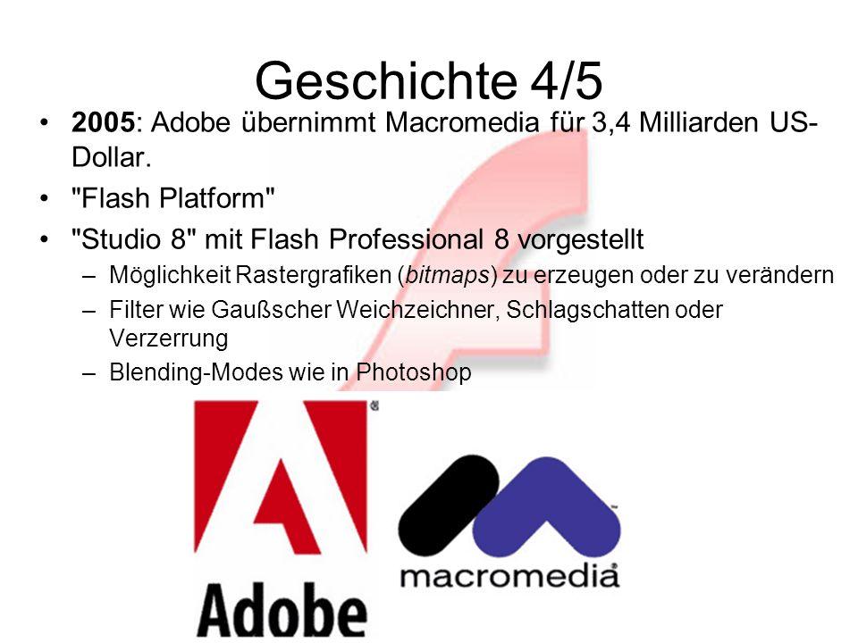 Geschichte 5/5 2006: Adobe Flash Player 9 für Windows und Mac OS X –neue ActionScript-Version 3.0 –weitergehende Unterstützung für XML.