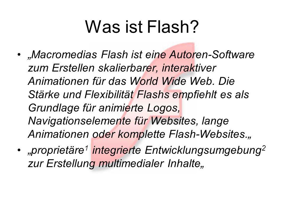 Was ist Flash? Macromedias Flash ist eine Autoren-Software zum Erstellen skalierbarer, interaktiver Animationen für das World Wide Web. Die Stärke und