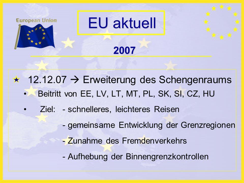 EU aktuell 2007 12.12.07 Erweiterung des Schengenraums Beitritt von EE, LV, LT, MT, PL, SK, SI, CZ, HU Ziel: - schnelleres, leichteres Reisen - gemeinsame Entwicklung der Grenzregionen - Zunahme des Fremdenverkehrs - Aufhebung der Binnengrenzkontrollen