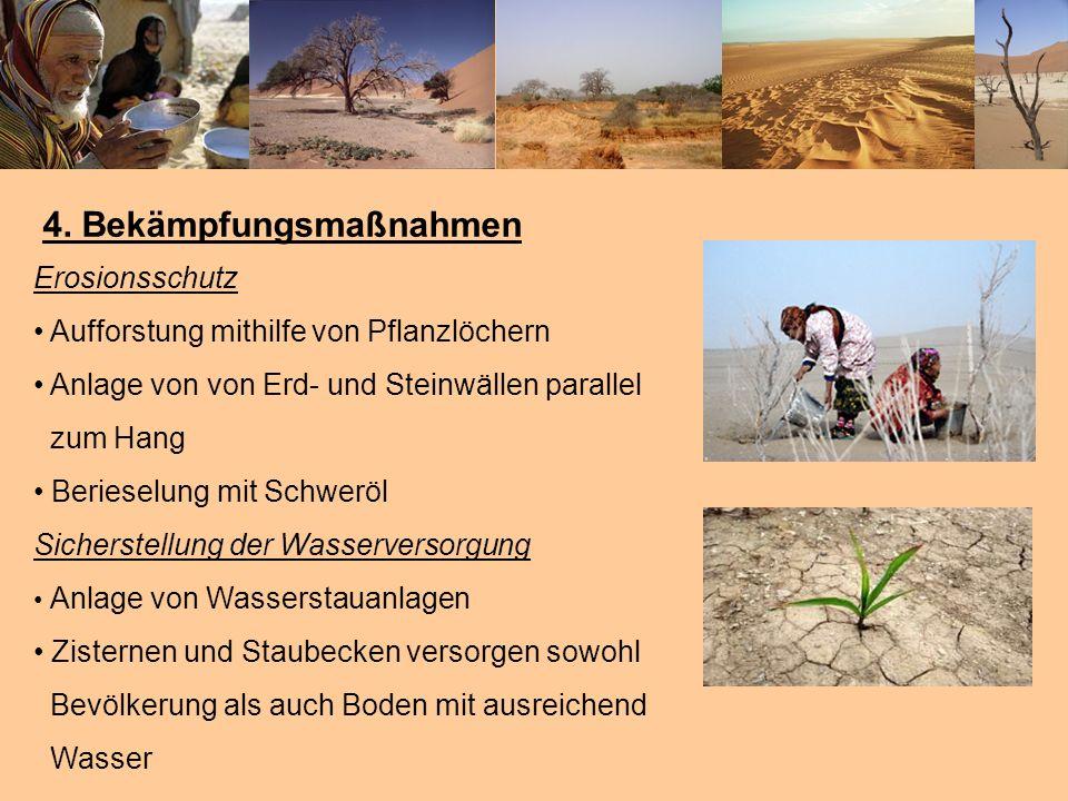 4. Bekämpfungsmaßnahmen Erosionsschutz Aufforstung mithilfe von Pflanzlöchern Anlage von von Erd- und Steinwällen parallel zum Hang Berieselung mit Sc