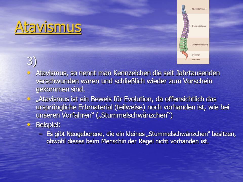 Atavismus 3) Atavismus, so nennt man Kennzeichen die seit Jahrtausenden verschwunden waren und schließlich wieder zum Vorschein gekommen sind. Atavism