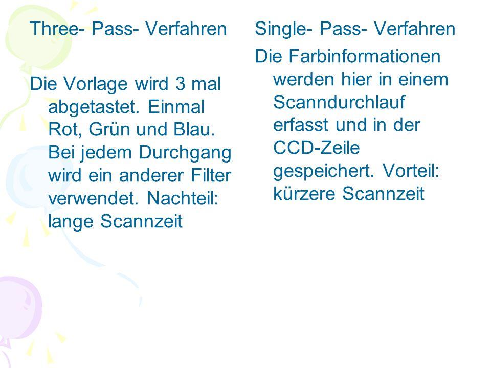 Three- Pass- Verfahren Die Vorlage wird 3 mal abgetastet. Einmal Rot, Grün und Blau. Bei jedem Durchgang wird ein anderer Filter verwendet. Nachteil: