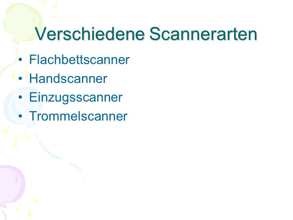 Verschiedene Scannerarten Flachbettscanner Handscanner Einzugsscanner Trommelscanner