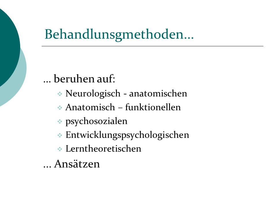 Behandlunsgmethoden... … beruhen auf: Neurologisch - anatomischen Anatomisch – funktionellen psychosozialen Entwicklungspsychologischen Lerntheoretisc