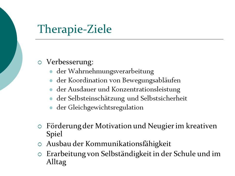 Therapie-Ziele Verbesserung: der Wahrnehmungsverarbeitung der Koordination von Bewegungsabläufen der Ausdauer und Konzentrationsleistung der Selbstein
