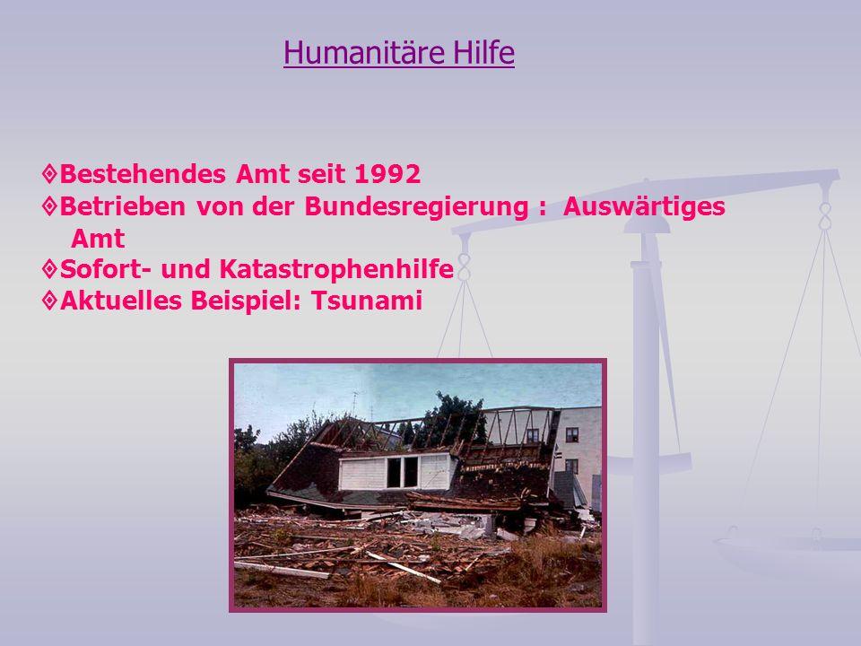 Humanitäre Hilfe Bestehendes Amt seit 1992 Betrieben von der Bundesregierung : Auswärtiges Amt Sofort- und Katastrophenhilfe Aktuelles Beispiel: Tsuna