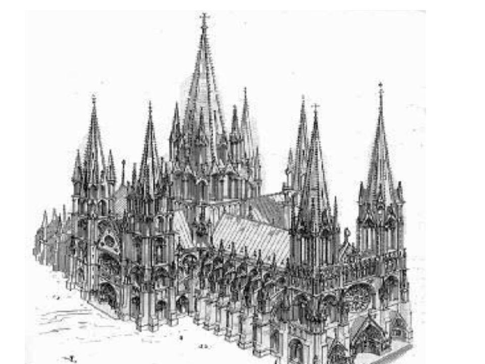 Gotik – Merkmale Spitzbögen, Kreuzrippengewölbe, Strebepfeiler Vertikalismus, große farbige Fenster viele Verzierungen an den Fenstern höhere Räume un