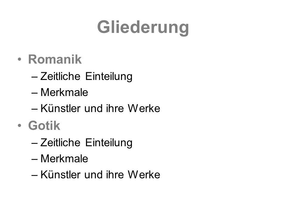 Romanik – zeitliche Einteilung auch: vorgotischer Stil, lombardischer Stil ausgehend von Deutschland ca.
