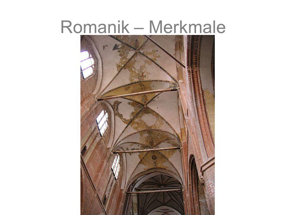 Romanik – Merkmale Gebundenes System Wuchtige Mauern mit kleinen Fenstern Vieltürmigkeit Gliederung der Innen und Außenwände durch Wandvorlagen, Blend