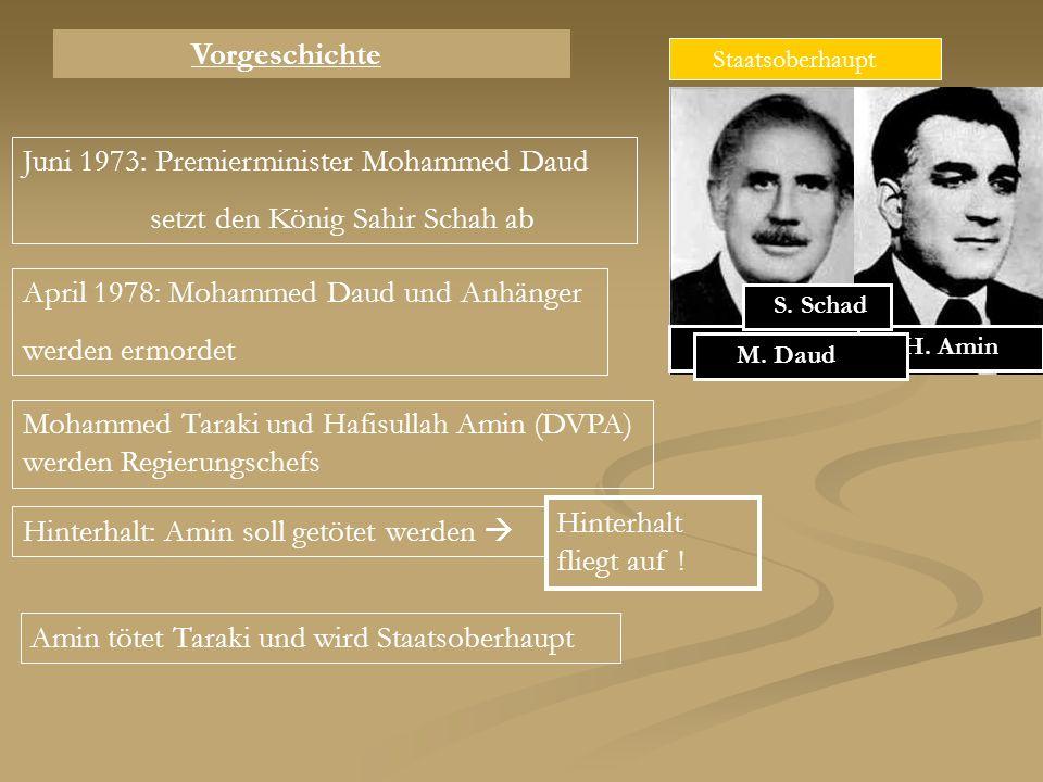 Juni 1973: Premierminister Mohammed Daud setzt den König Sahir Schah ab Staatsoberhaupt April 1978: Mohammed Daud und Anhänger werden ermordet Mohamme