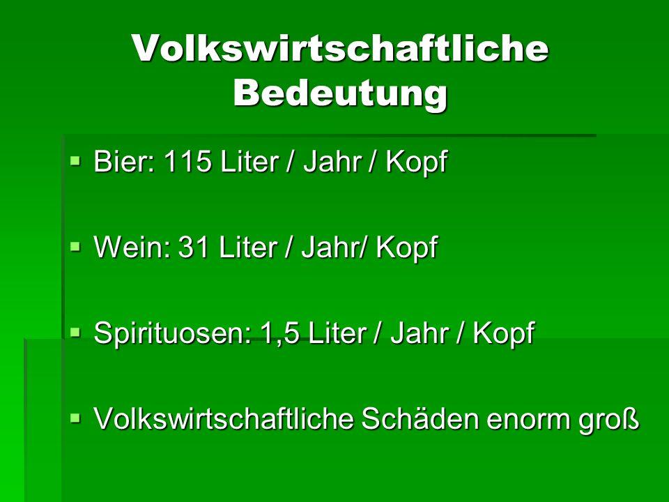 Volkswirtschaftliche Bedeutung Bier: 115 Liter / Jahr / Kopf Bier: 115 Liter / Jahr / Kopf Wein: 31 Liter / Jahr/ Kopf Wein: 31 Liter / Jahr/ Kopf Spi