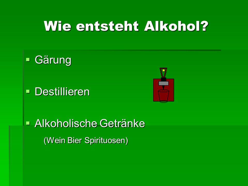 Wie entsteht Alkohol? Gärung Gärung Destillieren Destillieren Alkoholische Getränke Alkoholische Getränke (Wein Bier Spirituosen) (Wein Bier Spirituos