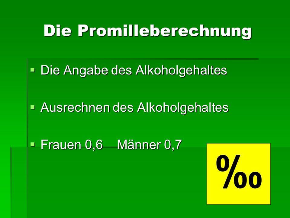 Die Promilleberechnung Die Angabe des Alkoholgehaltes Die Angabe des Alkoholgehaltes Ausrechnen des Alkoholgehaltes Ausrechnen des Alkoholgehaltes Fra