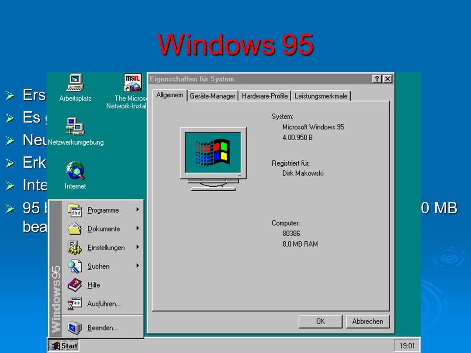Windows 95 Erscheinungsdatum: 1995 Erscheinungsdatum: 1995 Es gibt 4 Versionen (95 Ur-Version, 95A, 95B und 95C) Es gibt 4 Versionen (95 Ur-Version, 9