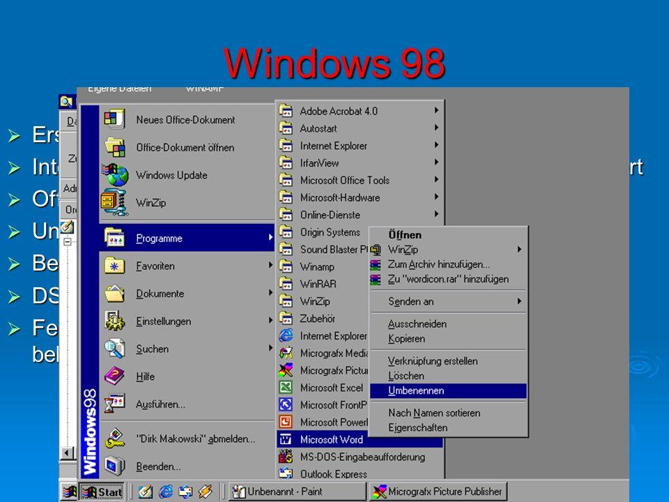 Windows 98 Erscheinungsdatum: 1998 Erscheinungsdatum: 1998 Internet Explorer 4.0 (später 5.0) war mit Windows mitgeliefert Internet Explorer 4.0 (spät