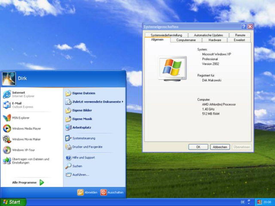 Windows XP Neue Benutzeroberfläche (Luna ) Neue Benutzeroberfläche (Luna ) Meisten DOS Programme laufen auf XP Meisten DOS Programme laufen auf XP 200