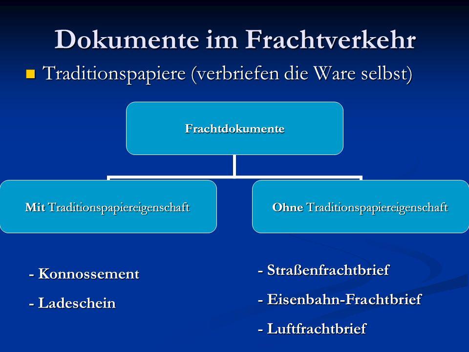 Dokumente im Frachtverkehr Traditionspapiere (verbriefen die Ware selbst) Traditionspapiere (verbriefen die Ware selbst)Frachtdokumente Mit Traditions