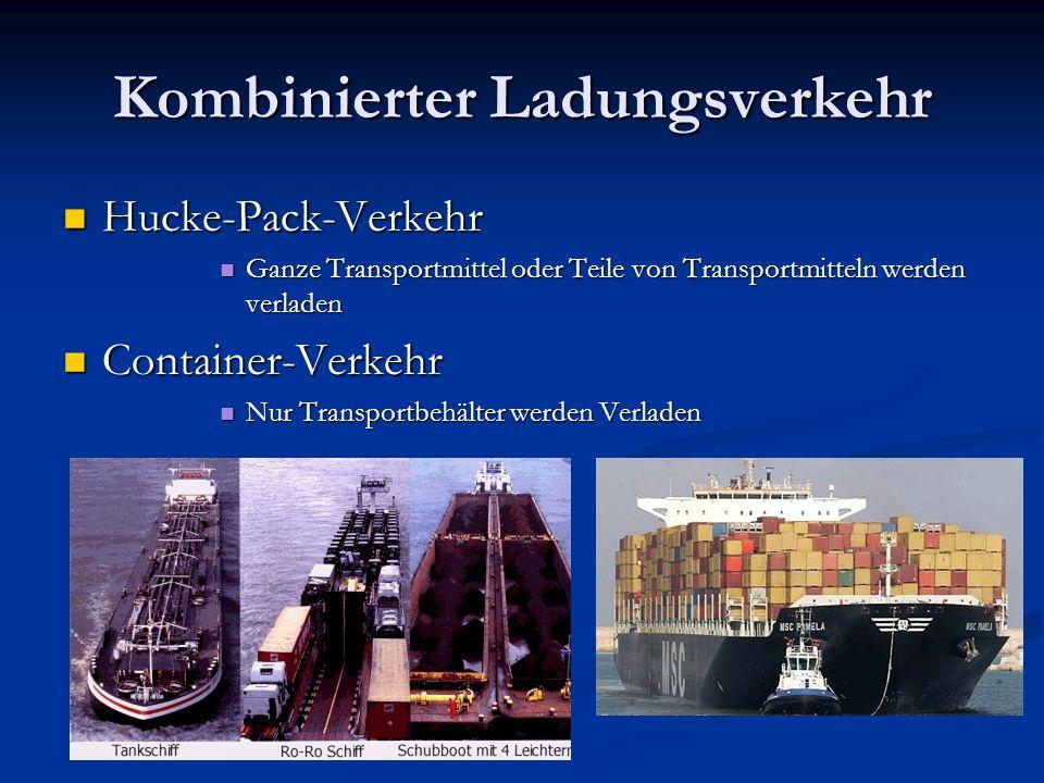 Kombinierter Ladungsverkehr Hucke-Pack-Verkehr Hucke-Pack-Verkehr Ganze Transportmittel oder Teile von Transportmitteln werden verladen Ganze Transpor