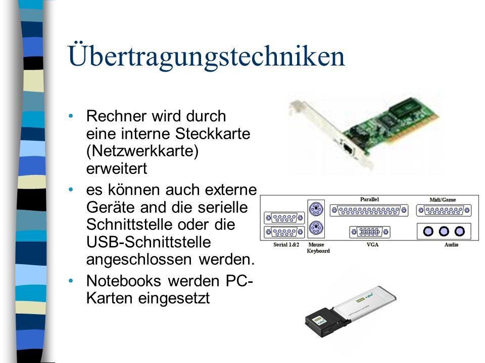 Übertragungstechniken Rechner wird durch eine interne Steckkarte (Netzwerkkarte) erweitert es können auch externe Geräte and die serielle Schnittstelle oder die USB-Schnittstelle angeschlossen werden.