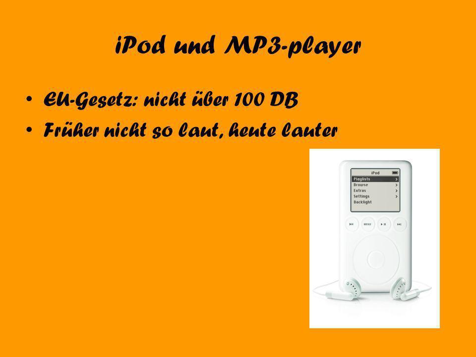 iPod und MP3-player EU-Gesetz: nicht über 100 DB Früher nicht so laut, heute lauter
