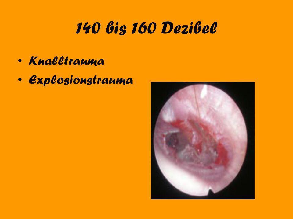 140 bis 160 Dezibel Knalltrauma Explosionstrauma