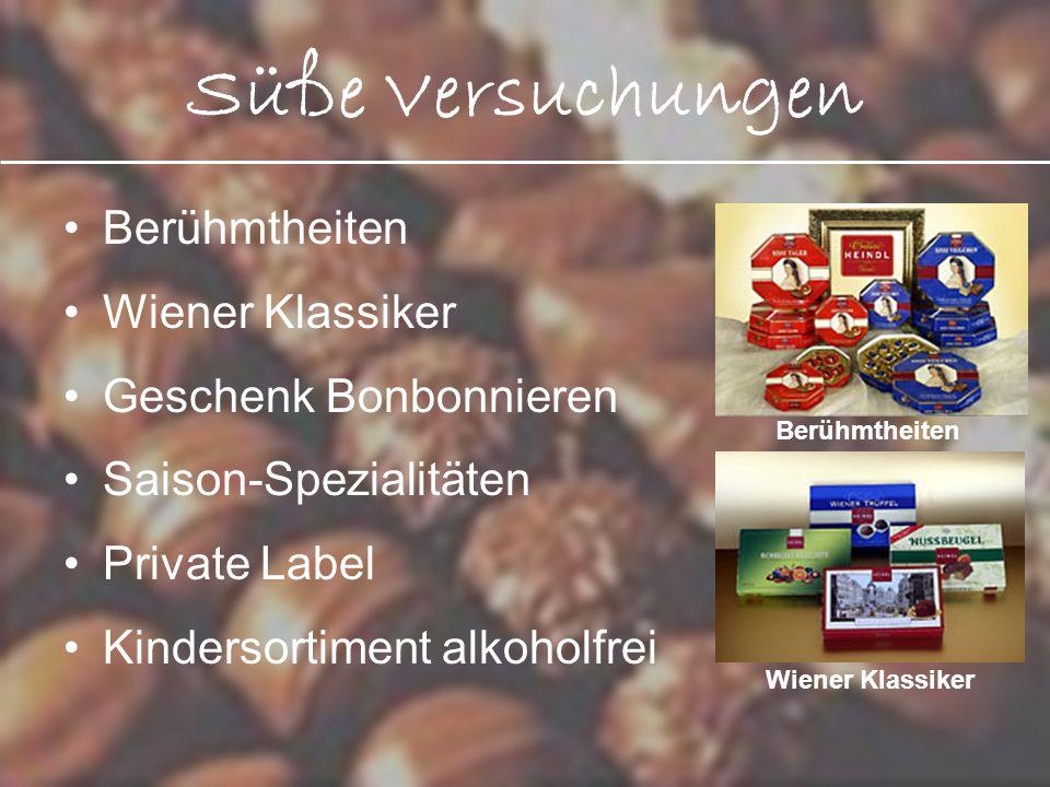 Süße Versuchungen Berühmtheiten Wiener Klassiker Geschenk Bonbonnieren Saison-Spezialitäten Private Label Kindersortiment alkoholfrei Berühmtheiten Wi