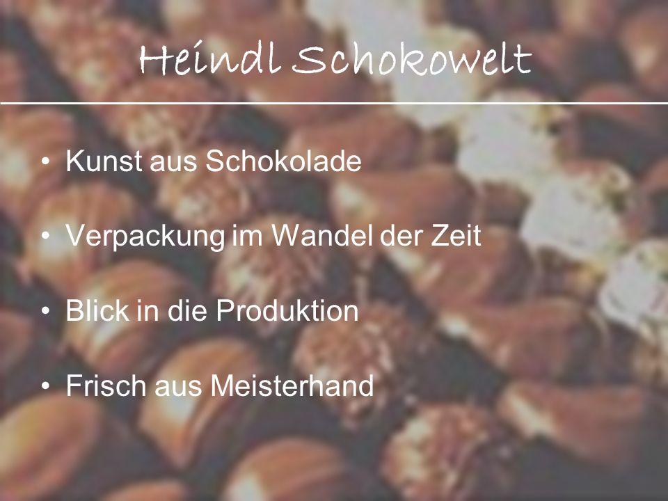 Heindl Schokowelt Kunst aus Schokolade Verpackung im Wandel der Zeit Blick in die Produktion Frisch aus Meisterhand